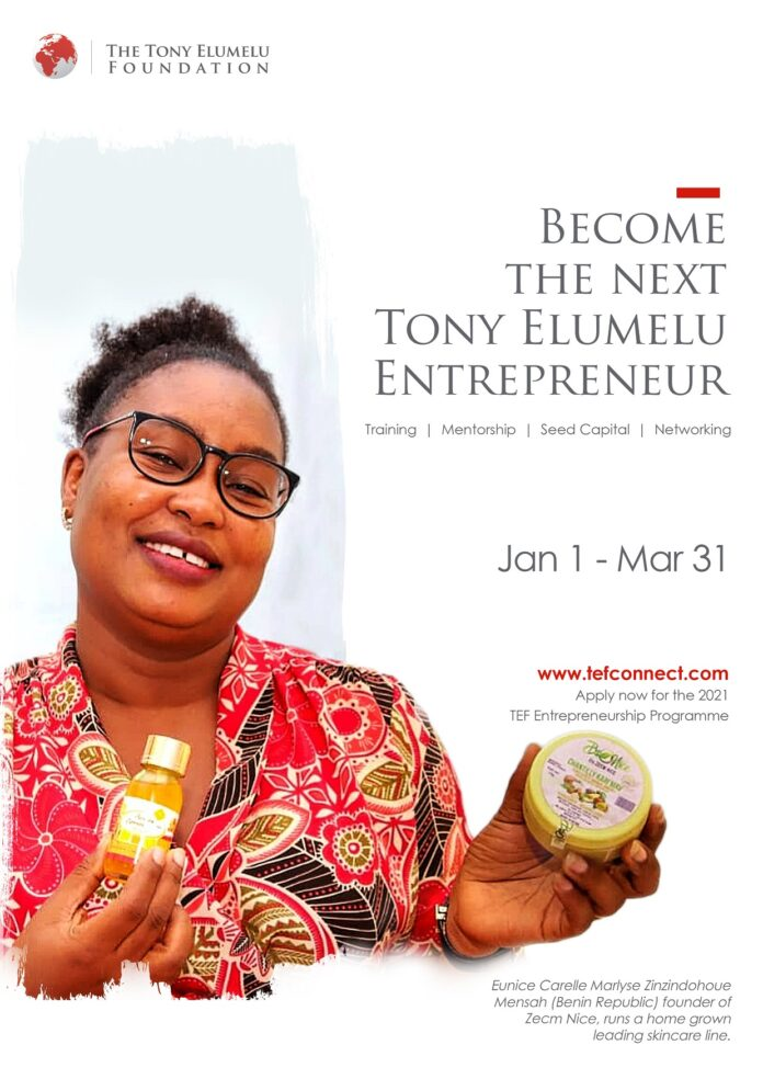 Tony Elumelu Foundation 2021 TEF Entrepreneurship Programme Application Opens on January 1, 2021
